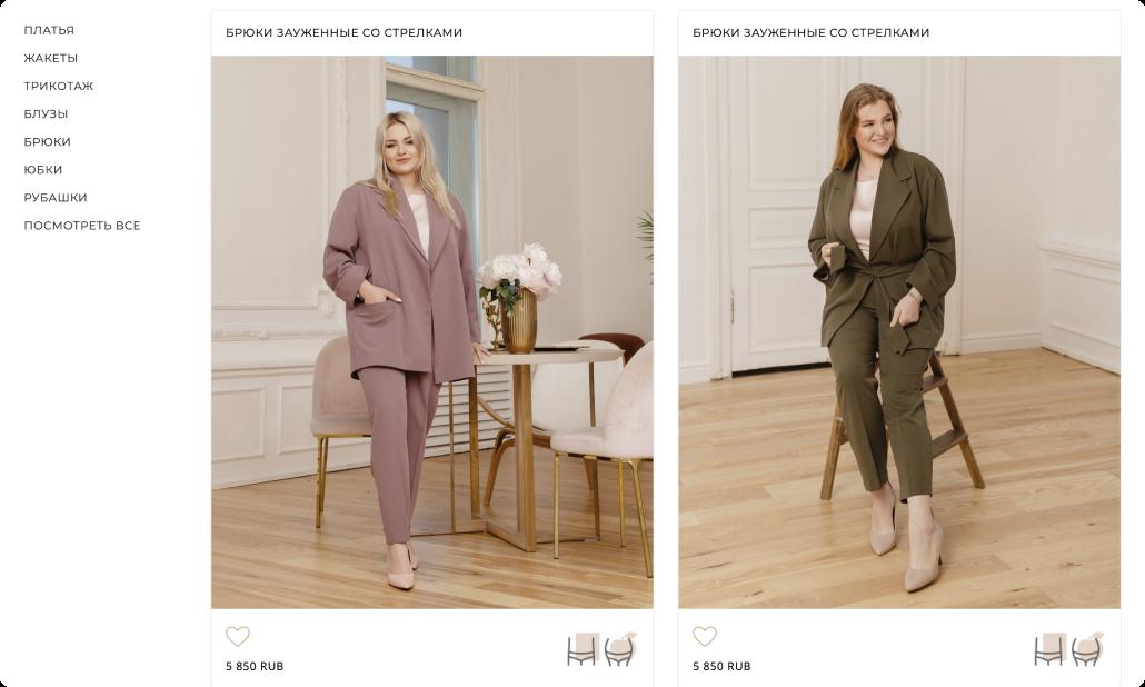 """Карточки товаров выглядят в виде привычных Instagram постов, к которым также можно поставить лайк и добавить понравившуюся модель в раздел """"Избранное"""""""